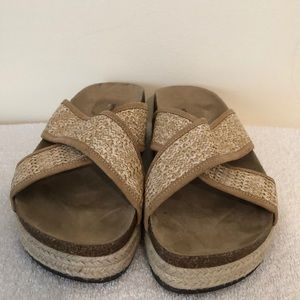 Seven dials slip on tan wedge sandals size 8